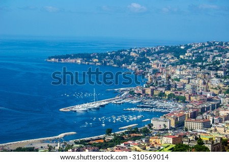 napoli from castel sant´elmo. City is famous for its historical center with narrow streets and for castel dell´ovo and nuovo, church of saint francesco di paola and teatro san carlo.