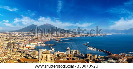 Napoli (Naples) and mount Vesuvius in the background at sunset in a summer day, Italy, Campania - stock photo