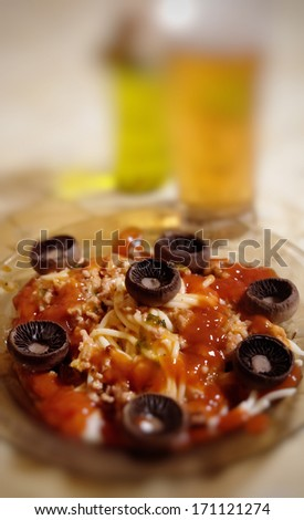 napolitan spaghetti with ketchup and mushrooms - stock photo
