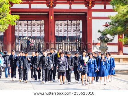 NARA-APR 19: student group at Todaiji temple on April 19, 2014 in Nara, Japan. This temple is the house of the world's largest bronze statue of the Buddha known in Japanese simply as Daibutsu. - stock photo