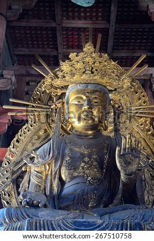 NARA, JAPAN - MARCH 27 : Kokuuzo Bodhisattva  on 27 March 2015. Nara, Japan. Kokuuzo is the bodhisattva of wealth and fortune. - stock photo