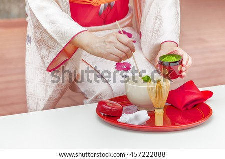 NARA,JAPAN- MAY 25,2016:Japanese tea ceremony, Matcha green tea powder is the finest tea sort for tea ceremony. - stock photo