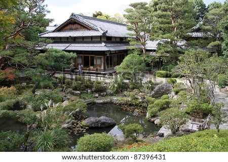 Nara temple garden and Tea House, Nara, Japan - stock photo