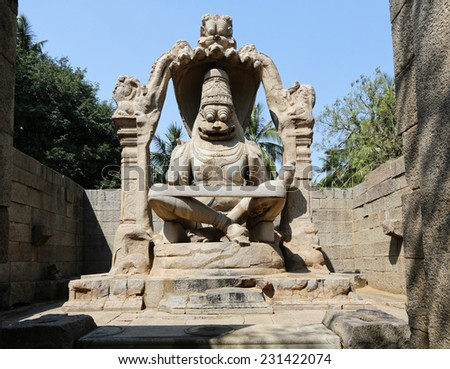 Narasinha (avatar of vishnu) statue in Hampi, INDIA - stock photo
