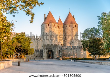 Narbonnaise Gate to Old City of Carcassonne in France