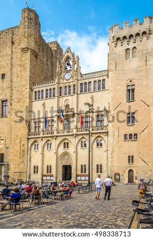 NARBONNE,FRANCE - AUGUST 28,2016 - View at the City hall in Narbonne. Narbonne is a commune in southern France in the Languedoc-Roussillon region.