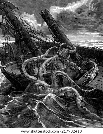 Narcissus Nicaise perilous adventures in the Congo. He had before him a fearsome sea monster, vintage engraved illustration. Journal des Voyage, Travel Journal, (1880-81). - stock photo