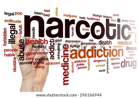 Narcotic word cloud concept with addiction drug related tags - stock photo