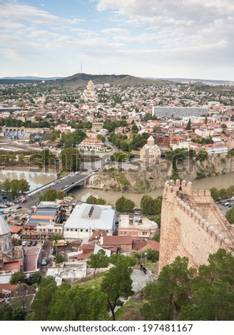 Narikala Fortress is overlooking the city of Tbilisi, the capital city of Georgia