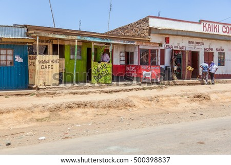 Narok, Kenya, 10 February 2015, Shopping street in a small village in Kenya