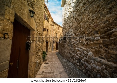 Narow street in Besalu, Spain