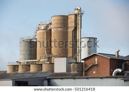 Narrandera, Australia-August 11, 2016. View of grain silos and fertiliser production plant in country town of Narrandera, New South Wales, Australia