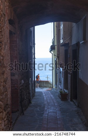 narrow alley in a small town of cinque terre - stock photo