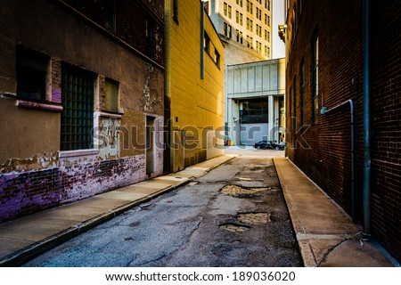 Narrow alley in Baltimore, Maryland.