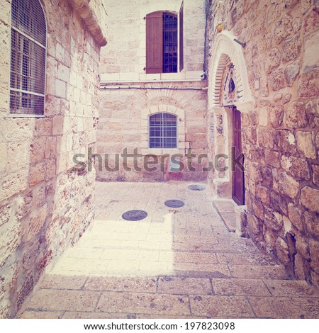 Narrow Alley in the Armenian Quarter of Jerusalem, Retro Effect - stock photo