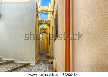narrow alley in the historic center of Otranto, coastal town of Greek-Messapian origins  in Italy