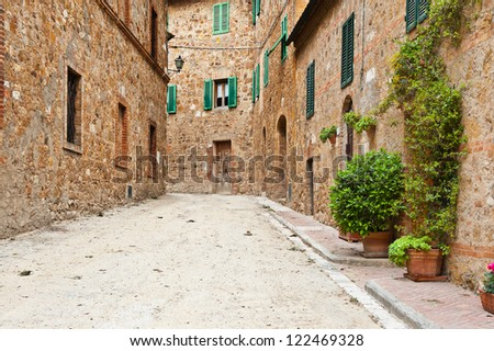 Narrow Alley with Old Buildings in the Italian City