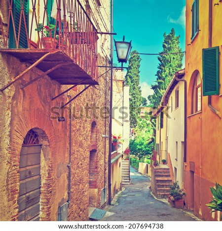 Narrow Alley with Old Buildings in the Italian City, Instagram Effect - stock photo