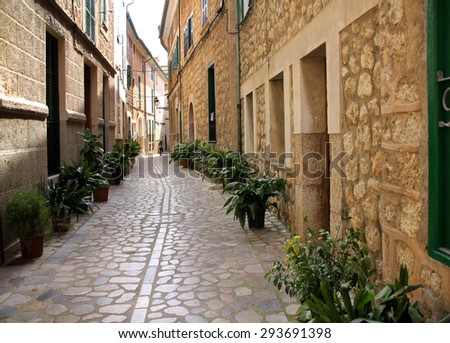 Narrow back street with green plants along the both sides of houses - stock photo