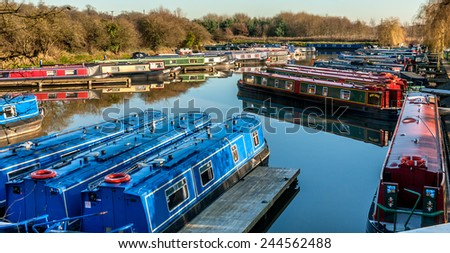 Narrow boat mooring site at Anderton Marina, Cheshire uk. - stock photo