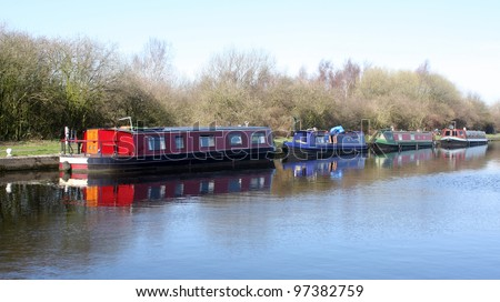 Narrow Boats moored at Stanley Ferry