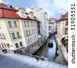Narrow canal at Prague. Czech Republic - stock photo