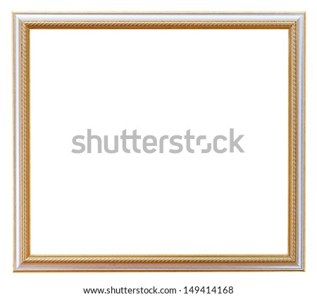 narrow carved white picture frame with cutout canvas isolated on white background