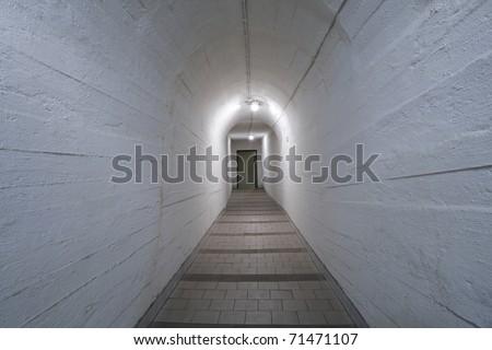 Narrow corridor in old underground hospital, Prague. - stock photo