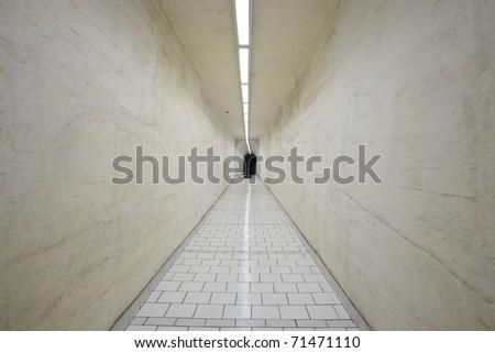 Narrow corridor in old underground hospital, Prague - stock photo