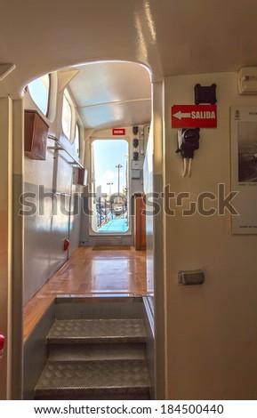 narrow corridor of a small boat - stock photo