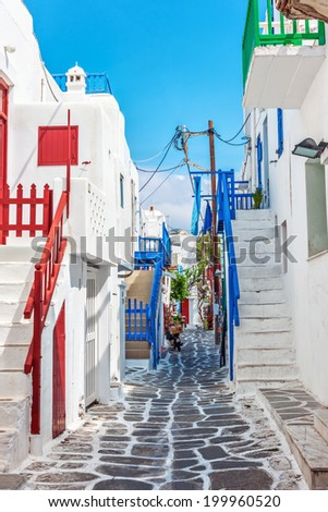 Narrow lane in Mykonos old town, Cyclades, Greece - stock photo