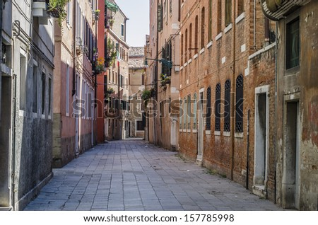 Narrow lane in Venice, Italy - stock photo