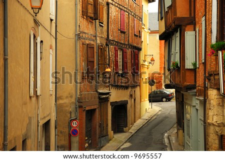 Narrow medieval street in town of Albi in south France