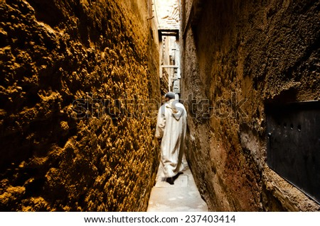 Narrow Medina Street - Fez - Morocco - stock photo