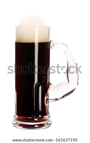 Narrow mug with brown beer. Isolated on a white background.