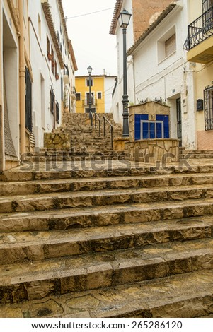 Narrow old town streets of a Costa Blanca village - stock photo