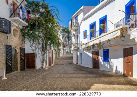 Narrow pedestrian streets in Ibiza old town center. Baleares, Spain
