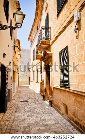 Narrow spanish street in Ciutadella, Menorca