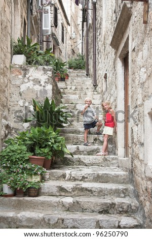 Narrow stairway in the old city, Dubrovnik - stock photo