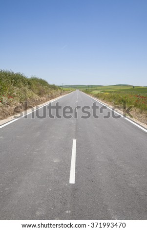 narrow straight rural grey lonely road in countryside of Spain Europe - stock photo