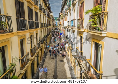 Narrow Street Full of People of San Sebastian Old Town, Spain