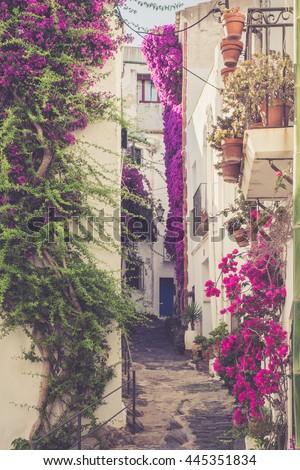 Narrow street in famous village of Cadaques. Spain, Catalonia, Costa Brava. - stock photo
