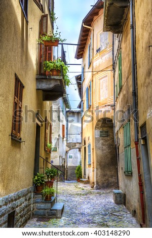 Narrow Street in La Brigue, Alpes-Maritimes, Provence, France