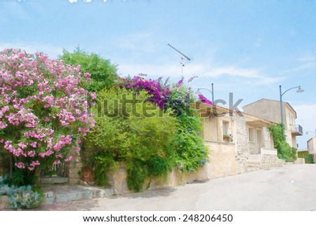narrow street in San Pantaleo in water color effect. - stock photo