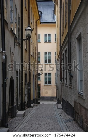 Narrow street in the old town of Stockholm