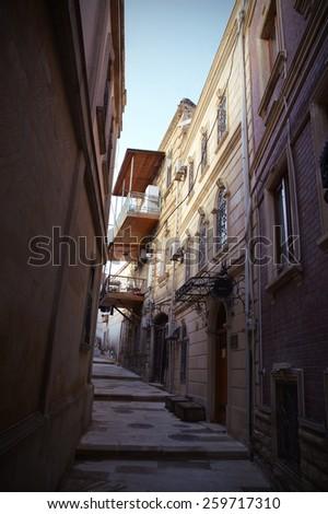 Narrow street in the old town of the Baku, Azerbaijan - stock photo