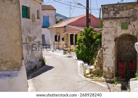 Narrow street in the village - Valanio, Corfu island, Greece - stock photo
