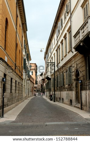 Narrow street in Verona, Italy - stock photo