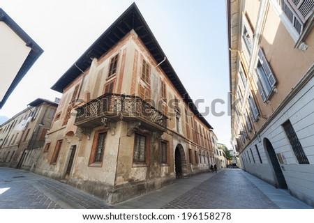 Narrow street of lake Como, Italy - stock photo