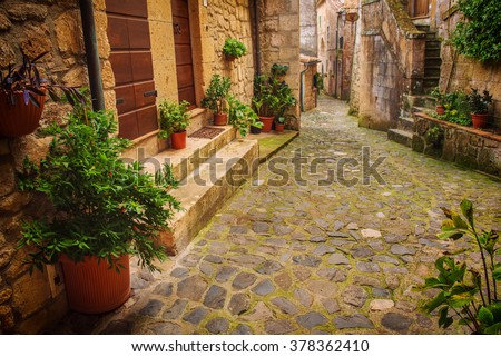 Narrow street of medieval ancient tuff city Sorano with green plants and cobblestone, travel Italy background - stock photo